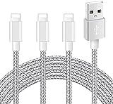 iPhone充電ケーブル ライトニングケーブル 【3本セット 2m 2m 2m】【MFi 認証】急速充電 ナイロン編み 高耐久性コネクタ 断線防止 アイフォン充電ケーブル USB Lightning ケーブル 高速データ転送対応 標準仕様 iPhone 11/11 pro/11 pro Max/XS/XS Max/XR/X/8/8Plus/7/7 Plus/6s/6s Plus/5s/5/iPad/iPod 様々対応(シルバーグレイ)