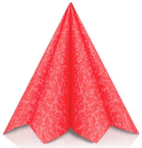 GRUBly Servilletas Rojo de Papel gofrado Fino Ornamental   Servilletas Papel de Fiesta como servilletas de Tela   Ideal Cenas Bodas Cumpleaños Barbacoas   Calidad AIRLAID   40 x 40 cm   Pack de 50