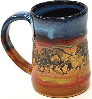 Wild Horses 17 Oz. Small Tankard in Azulscape glaze