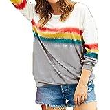 2YD8WH6 T-Shirt Ample à Manches Longues Et Imprimé Arc-en-Ciel d'automne Femme