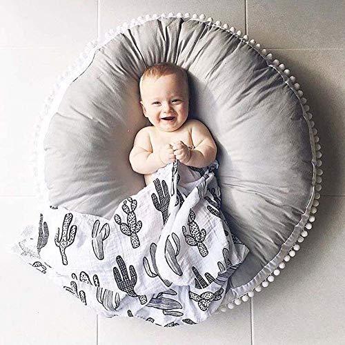 Homieco Tappeto rotondo per bambini in cotone tinta unita Tappetino da gioco per bambini Morbido comodo tappeto Baby Room Nursery Teepee Tenda Decorazione 35,4 pollici, Grigio