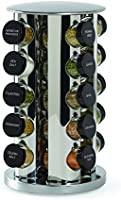 Kamenstein Revolving 20-Jar Countertop Spice Rack Tower Organizer with Free Spice Refills for 5 Years,Silver