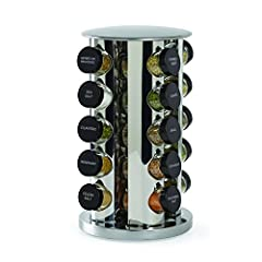 QUICK ACCESS: revolving spice rack spins, keeping spices within reach at all times MESS-FREE POURING: glass jars have clearly labeled plastic caps with sifter tops for controlled dispensing ESSENTIAL SPICES: jars are filled with basil, garlic salt, r...