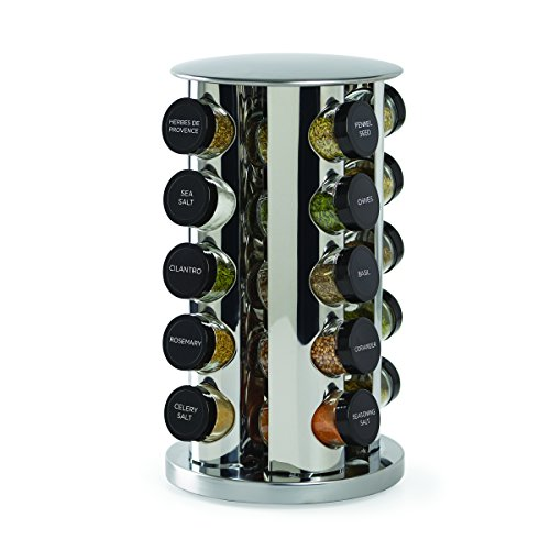 Kamenstein 30020 Revolving 20Jar Countertop Spice Rack Tower Organizer with Free Spice Refills for 5 YearsSilver