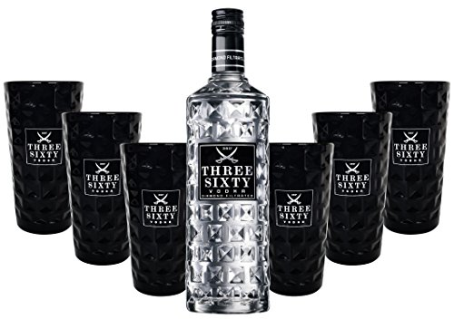 Three Sixty Vodka 0,7l 700ml (37,5% Vol) + 6x Black Longdrink-Gläser schwarz -[Enthält Sulfite]