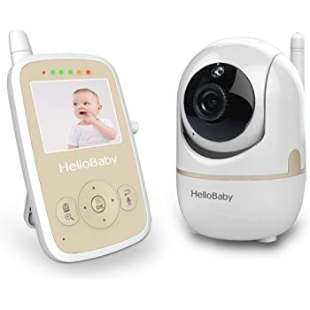 HelloBaby Video Baby Monitor with Camera Digital Color LCD Screen, Remote Pan/ Tilt/ Zoom and Infrared Night Vision, Alarm System, Long Transmission Range, Two-Way Talk, Lullaby.