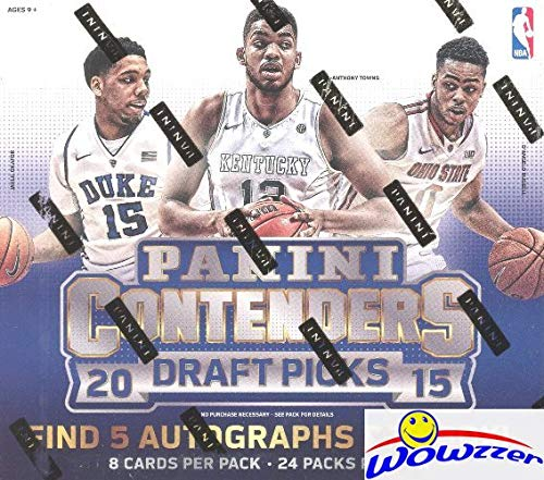 2015/16 Panini Contenders Draft Picks Basketball Factory Sealed HOBBY Box with FIVE(5) AUTOGRAPHS! Look for RC & Autographs of Karl-Anthony Towns, Kristaps Porzingis, D'Angelo Russell & More! WOWZZER!