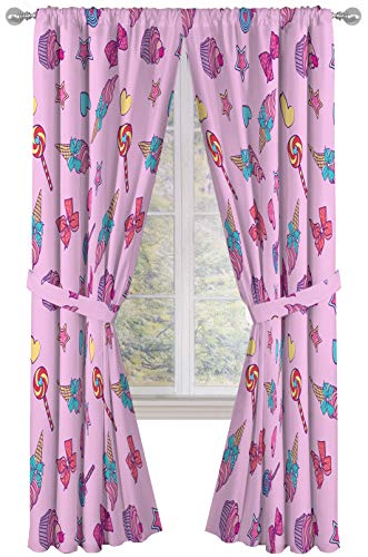 """Nickelodeon JoJo Siwa Dream Believe 84"""" inch Drapes 4 Piece Set - Beautiful Room Décor & Easy Set up - Window Curtains Include 2 Panels & 2 Tiebacks (Official Nickelodeon Product)"""
