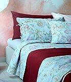 Zucchi - Juego de Cama de 2 plazas, diseño de Flores 250 x 280 cm bajo con Esquinas de 175 x 200 cm + 2 Fundas de Almohada con Lazos, Color 1 Polvo Percal de Puro algodón de 70 Hilos.