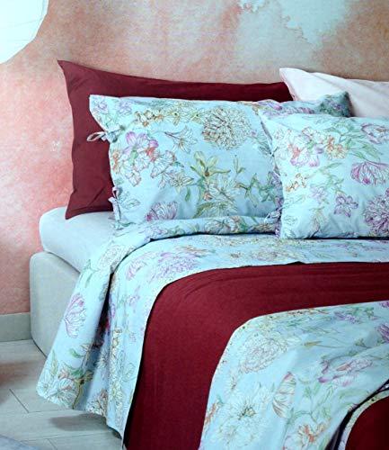 Zucchi FLORALIA Doppelbett Bettwäsche-Set 250 x 280 cm unter c/Ecken cm. 175 x 200 + 2 Kissenbezüge c/lackiert. 1 Multicolor f.do Pulver. Perkal aus Reiner Baumwolle, 70 Fäden.