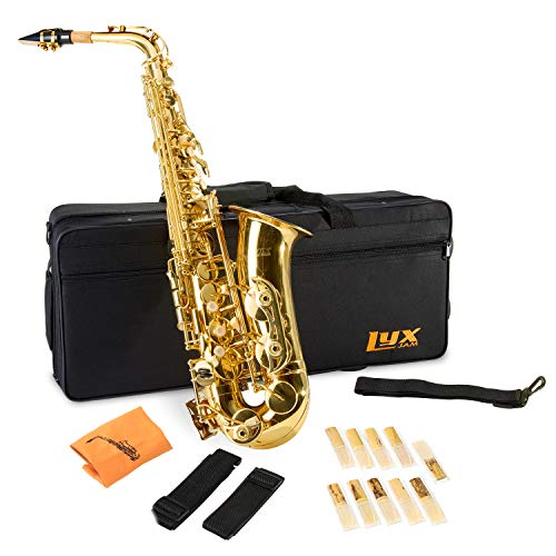 professional LyxJam Alto Sax E Flat Brass Sax Beginner Kit, Mouthpiece, Color, Cleaning Cloth, …