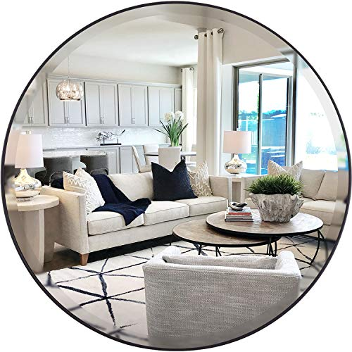 MOTINI 28.5'' Large Round Wall Mirror Black Modern & Contemporary Beveled Circle Mirror PU Frame Wall Mounted Decorative Mirror for Bathroom Bedroom Living Room Entryway
