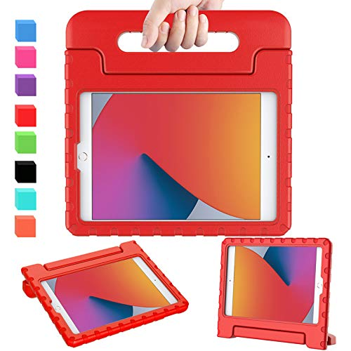 AVAWO iPad 8th & 7th Generation Kids Case, iPad 10.2 2020 Kids Case, Light Weight Shock Proof Convertible Handle Stand Kids Friendly Case for iPad 10.2 inch 2019 / 2020 Release and Air 3 - Red