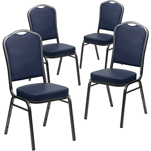 Flash Furniture 4 Pk. HERCULES Series Crown Back Stacking Banquet Chair in Navy Vinyl - Silver Vein Frame