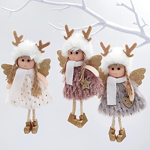 Dysetcs Lot de 3 pendentifs de Noël en forme d'ange élan - Décoration de Noël à suspendre - Pour sapin de Noël, fête, jardin