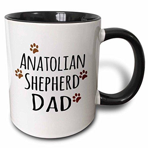3dRose Anatolian Shepherd Dog Dad by breed Mug, 11 oz, Black