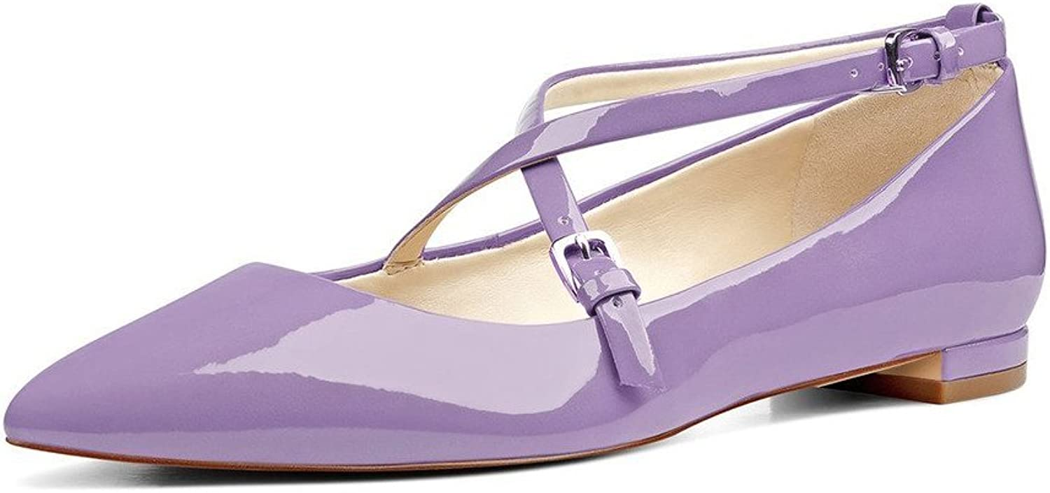 UMEXI Pointede Toe Criss Cross Strap Classic Ballet Flats Slip On Patent Leather Walking shoes for Women