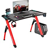"""Bossin Gaming Desk Y-Shaped 47"""" PC Game Table Office Workstation Home Computer Desk with RGB LED Lights/USB Gaming Handle Rack/Cup Holder/Headphone Holder for Gamer (Red)"""