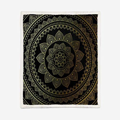 Manta Felpa Sherpa en Impresión Terraza De Loto Budista 150x200cm , Mantas para Cama Sofá Reversible de Microfibre Extra Suave - Fácil De Cuidar, Cálida, Cómoda Y Duradera