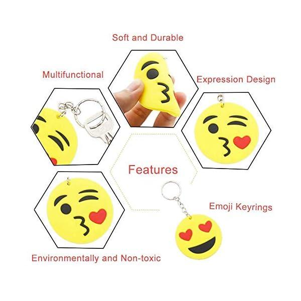 51q8n28YaML. SS600  - BESTZY 30 Pcs Mini Emoji Llavero Emoji Encantadora Emoticon Llavero Llavero Emoji de Cara Redonda Decoración de Bolsos…