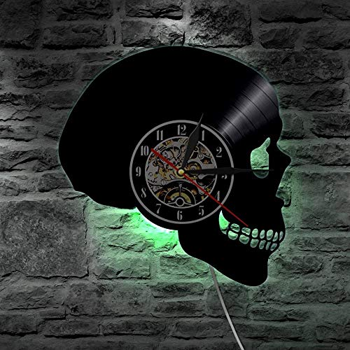 YUN Clock Wanduhr Aus Vinyl Schallplattenuhr 3D LED Schädel-3 Familien Dekoration Upcycling Design-Uhr Wohnzimmer...