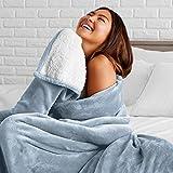 Bare Home Sherpa Fleece Blanket - Twin/Twin Extra Long - Fluffy & Soft Plush Bed Blanket - Hypoallergenic - Reversible - Lightweight (Twin/Twin XL, Dusty Blue)