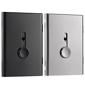 Tatuo 2 Pack Business Card Holder Thumb-Drive Business Card Case Slide Out Business Card Holders Stainless Steel Card Holder Card Case Excellent Design for Men and Women  Black/Gray
