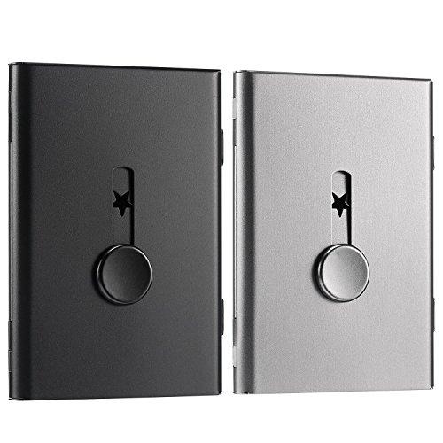 2 Pack Tarjetero, Caja de Tarjetas de Visitas de Pulgar-Conducir Tarjetero de Acero Inoxidable Diseño Excelente para Hombres y Mujeres (Negro/Gris)