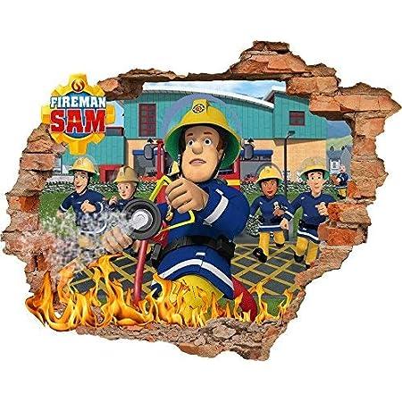 SAM le Pompier papier peint autocollant 56?cm x 62?cm enfants Chambre ? coucher gar?ons filles Art mural papier peint mural Grande taille