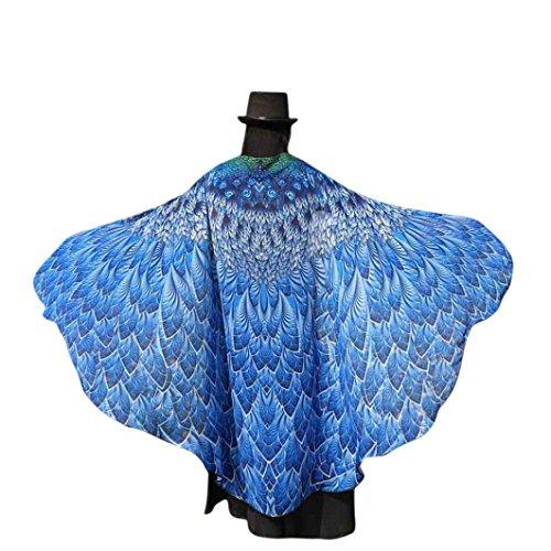 Lenfesh Chal de Gasa de alas de pavo real Disfraz de hada con alas de mariposa Carnaval 2018 (Azul #1)