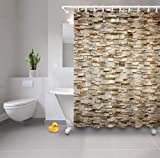 WGEMXC Bad Bad Vorhang, Retro Ziegel Wand Duschvorhang Liner 100prozent Polyester Bad-accessoires 183X183 Cm