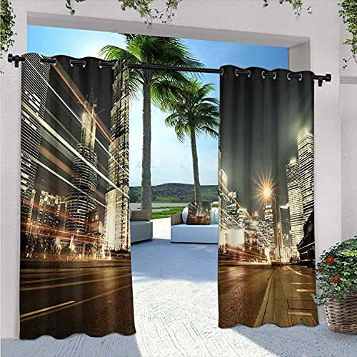 your zone home patio curtains City Outdoor Curtains for Patio Waterproof, Shanghai Lujiazui Finance and Trade Zone of The Modern City Nighttime View, Suitable for Outdoor Terrace pavilions, W84 x L84 Inch Bronze Black White