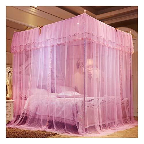 Literie Fille Princesse moustiquaire de lit à baldaquin Tente Salle Rideau Décor klamboe baldachim Ciel de lit Camas Dormitório (Color : Pink, Size : 1.8x2.0m)