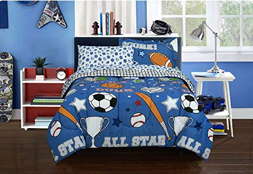 Kidz Mix Game Day Bed in a Bag, Twin, Blue