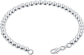 Gem Avenue 925 Sterling Silver 4mm Beads Bracelets Lobster Clasp For women (7-8 inch Available)