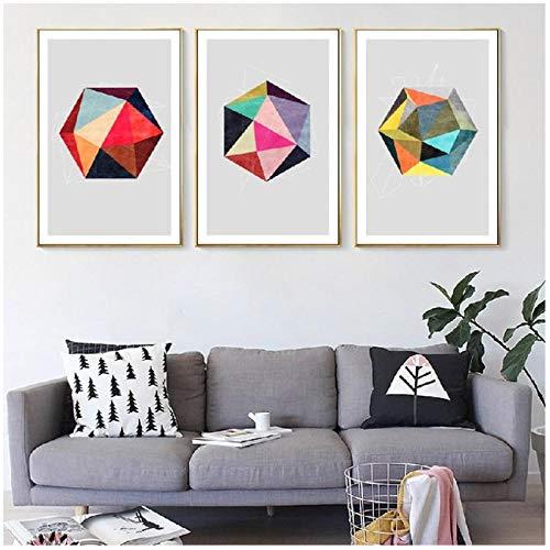 HHONG Colorido patrón geométrico Simple patrón de Costura Lienzo Pintura póster impresión Foto Pared decoración del hogar Arte de Pared 30x40cm / 11.8'x15.7 x3 Sin Marco