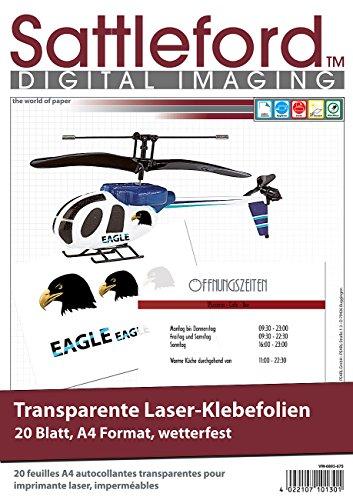 Sattleford Drucker Folie: 20 Klebefolien A4 für Laserdrucker transparent (Klebefolie bedrucken Laserdrucker)