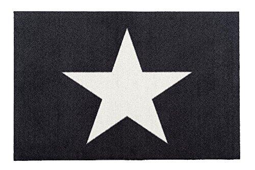 Gift Company - waschbare Fußmatte, Fußabtreter, Türmatte - Sterne, Stars - Schwarz/Weiß - 50 x 75 cm