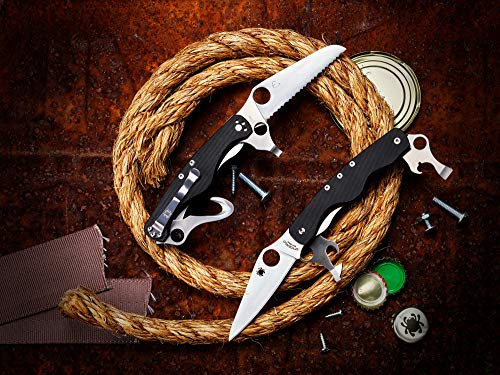 Spyderco ClipiTool Rescue Multi-Functional Pocketknife with 3 Stainless Steel Blades and Durable Black G-10 Handle - SpyderEdge - C209GS