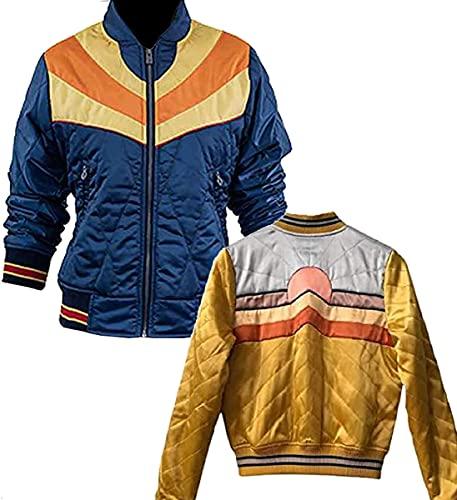 HiFacon Womens Stumptown Rising Sun Jacket Bomber Jacket Lightweight Satin Baseball Jacket