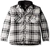 Dickies Men's Relaxed Fit Hooded Quilted Shirt Jacket, Smoke Black Plaid, L