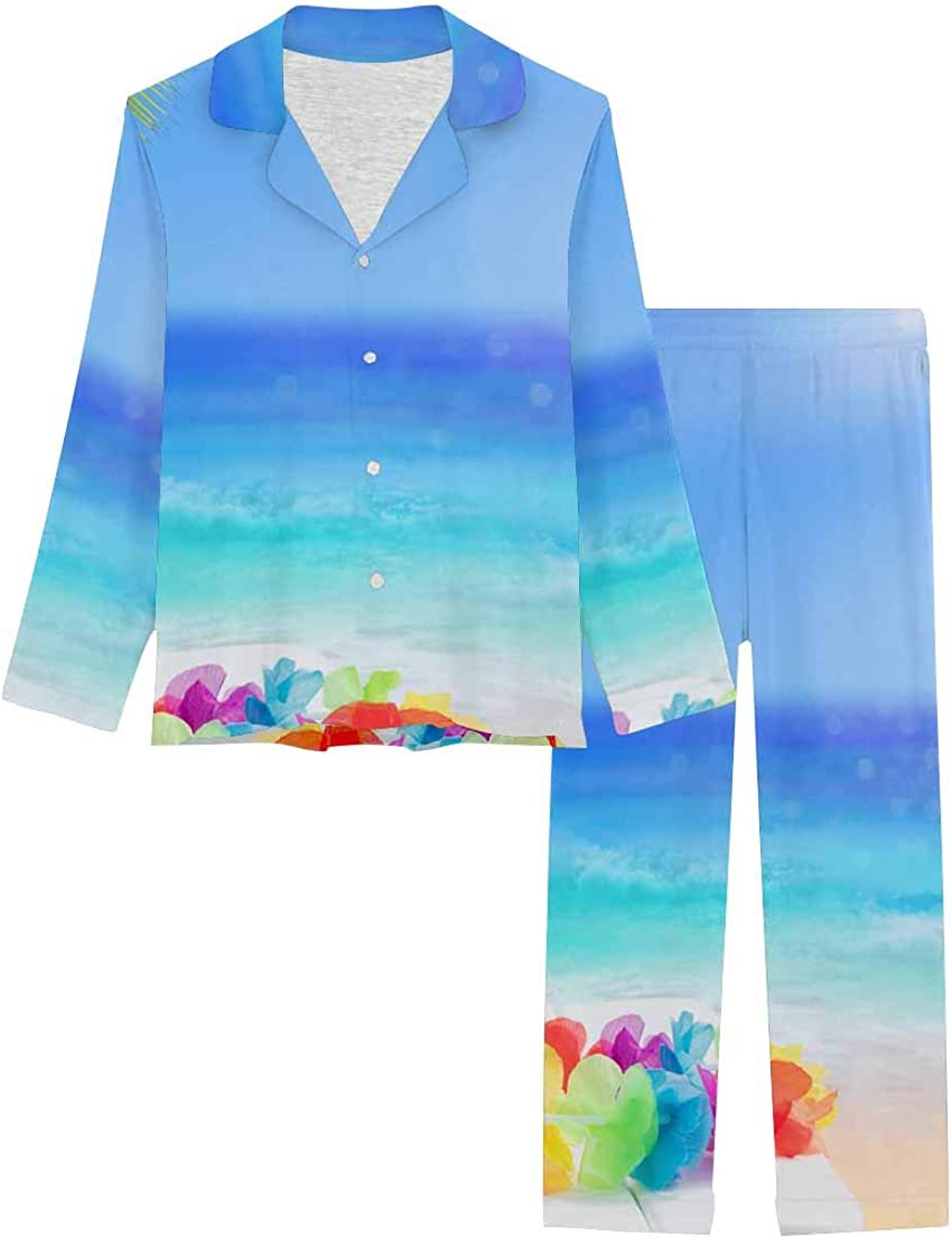 InterestPrint Sleepwear Button Down Loungewear with Long Pants Coconut Drink in Tropical Beach Holiday Concept