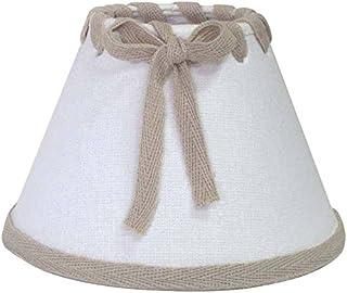 Better & Best Pantalla de lámpara de Lino, con Pinza de sujeción para Bombillas Vela, Tipo romántica, de 14 cm, Blanco con Lazo y Cinta Color Topo