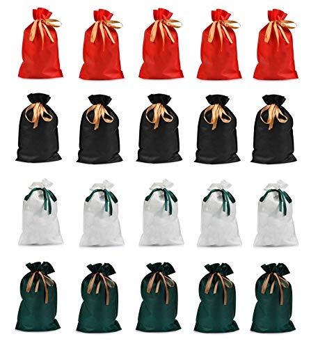 ラッピング袋 リボン付き 4色 20枚 巾着袋 包む ギフト袋 祝日 クリスマス包装 小分け プレゼント用 誕生日 お祝い パーティー 新年 返礼品用 贈り物包装
