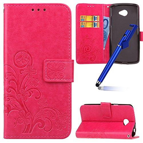 MoreChioce Compatibile con Custodia Cover LG K5 Flip PU,Clover Fiore Portafoglio Flip Case con Porta Carte di Credito e Supporto Chiusura Magnetica Silicone TPU Case Compatibile con LG K5,Rosa Rossa