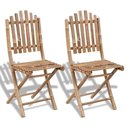 vidaXL 2x Bambus Klappstuhl Gartenstuhl Gartenmöbel Klappstühle Balkon Sühle