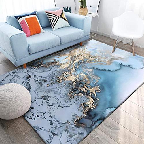 YDANH Tappeto Astratto del tavolino da caffè dell'Acqua di Mare dell'oro Blu per Il Tappeto Antiscivolo della Cucina del Salone della Camera da Letto della casa della Camera da Letto zerbino Nordico