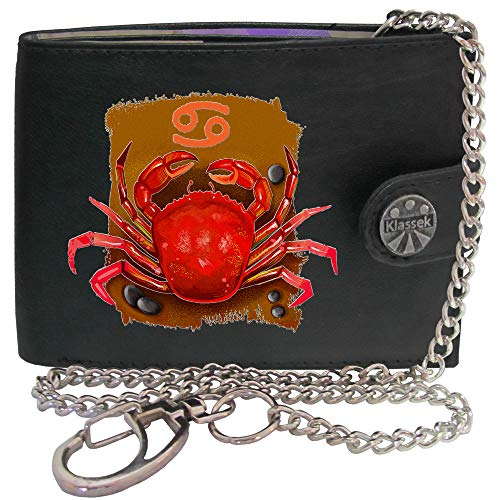 Cancer Star Sign Horoscope Zodiac KLASSEK Mens Wallet with Chain Real Leather RFID Blocking with Coin Pocket and Metal Gift Box