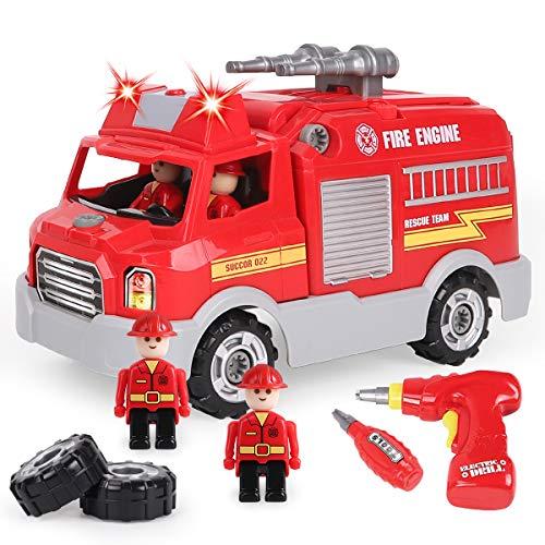 REMOKING Auto Spielzeug für Kinder, Feuerwehrauto Fahrzeuge mit Ton und Licht, Montage Spielzeug mit Werkzeug, Kinder Rollenspiel Spielzeug Set, Lernspielzeug Spielfahrzeug Geschenk