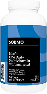 Amazon Brand - Solimo Men's One Daily Multivitamin Multimineral, 365 Tablets, Value Size - One Year Supply